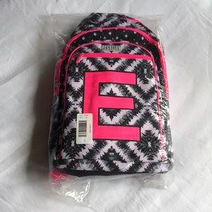 """Justice brand new """"E"""" bookbag"""